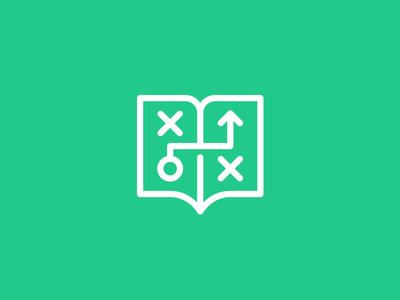 Playbook Icon play playbook book logo design logo design identity icon branding green logo