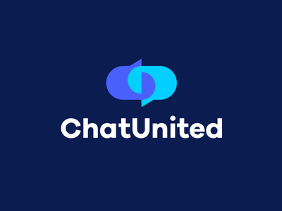 ChatUnited chat connect connection together blue logo icon logo design blue logo chat logo chat icon