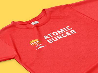 Atomic Burger Tshirt tshirt food logo branding identity food red boom burger atomic atomic burger