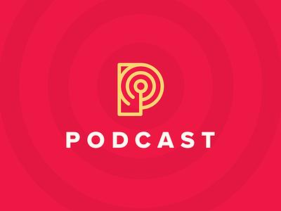 Podcast Logo creative logo designer clever logo design idea logo design geometry circles grid letter p icon p red yellow white radar connection pulse icon mark brand smart logo podcast identity podcast logo