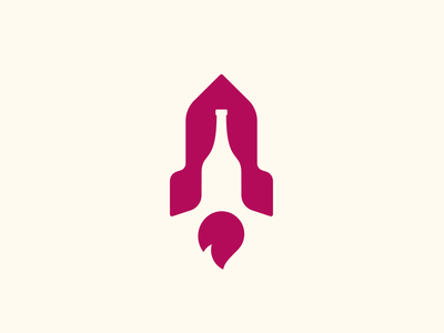 Wine + Rocket rocket logo wine logo rocket icon wine bottle bottle clever icon smart logos design logo design negative space wine