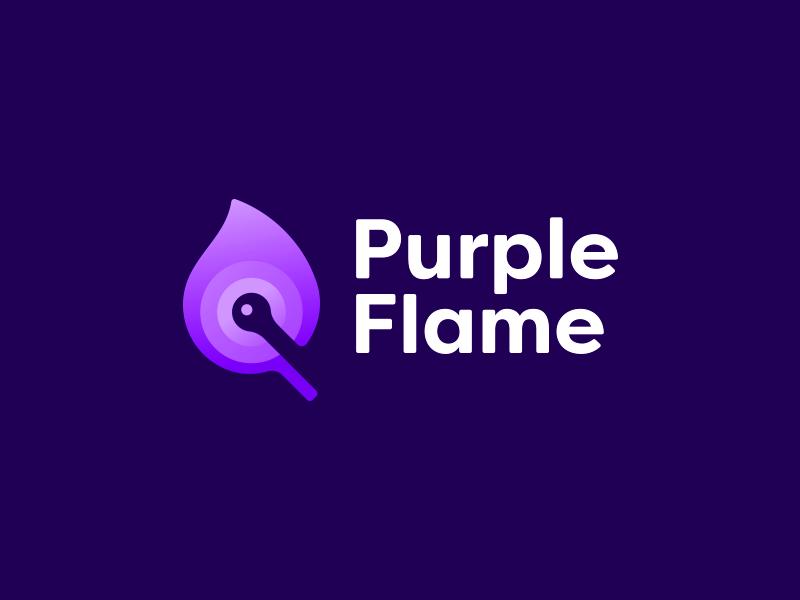 Purple Flame Logo negative space design purple flame logo icon logo design logo designer purple flame negative space logo