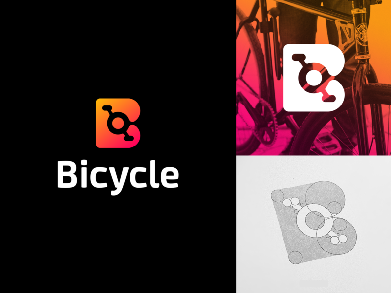 Bicycle Logo Design smart logos logo designer logo icon icon b logo letter b gradient logo negative space clever logo branding identity bicycles pedals bicycle shop leo logos creative direction smart logo bicycle app bicycle logo design