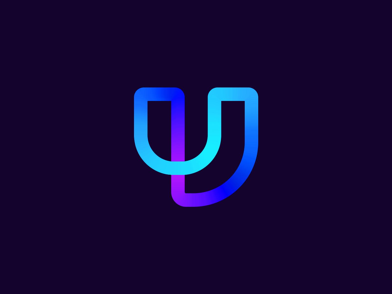 UJ Logo monogram creative blue icon design logo logo designer smart logo logo icon clever logo branding identity graphic design j u u logo j logo gradients gradient logo design