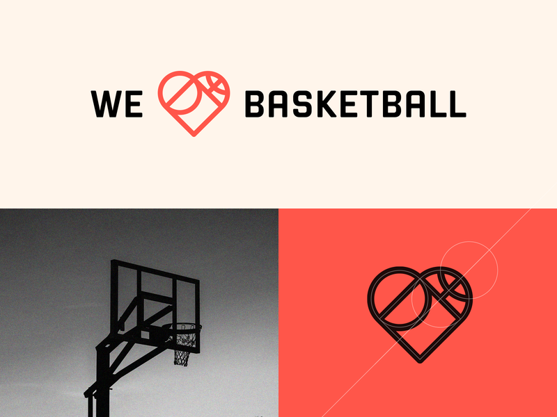 WE LOVE BASKETBALL clever logo logo designer creative logo icon branding smart logos grid logo grid identity icon design smart logo logo logo design sport app sport court basketball court basket ball basketball