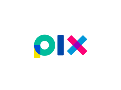 PIX Wordmark vivid bold logo bold letters font type colorful pix logo designer logo branding identity colorful logo smart logo logo design wordmark color overlay layers colors
