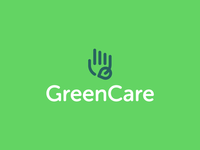 GreenCare Logo Design logo designer smart logos logo icon clever logo branding identity icon design smart logo logo design ecofriendly ecology logo hand logo touch hand ecology green care care green eco
