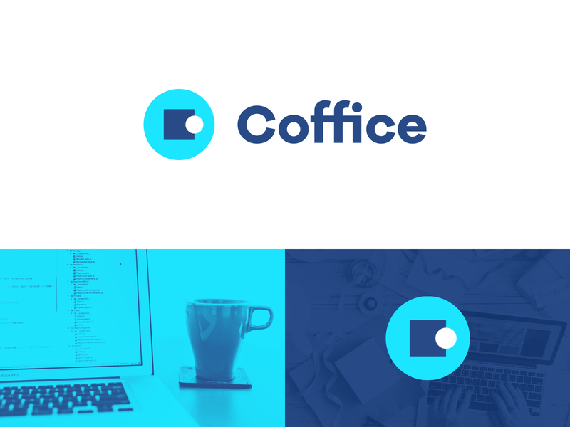 Coffice Logo Design coffee cafe illustration logotype colorful creative blue logo designer smart logos logo icon clever logo branding identity icon design logo smart logo logo design coworking space coworking