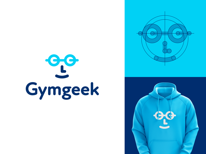 Gymgeek Identity Project creative logo smart logo design branding blue logo logo designer smart logos logo icon clever logo identity icon sport sports app barbell sports logo fitness gym logo gym logo design