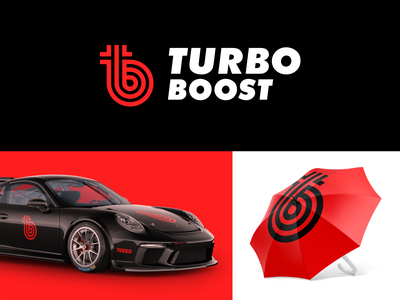 Turbo Boost turbine creative smart logos logo designer logo icon clever logo branding icon identity design t b tb logo smart logo logo design red logo red boost turbo