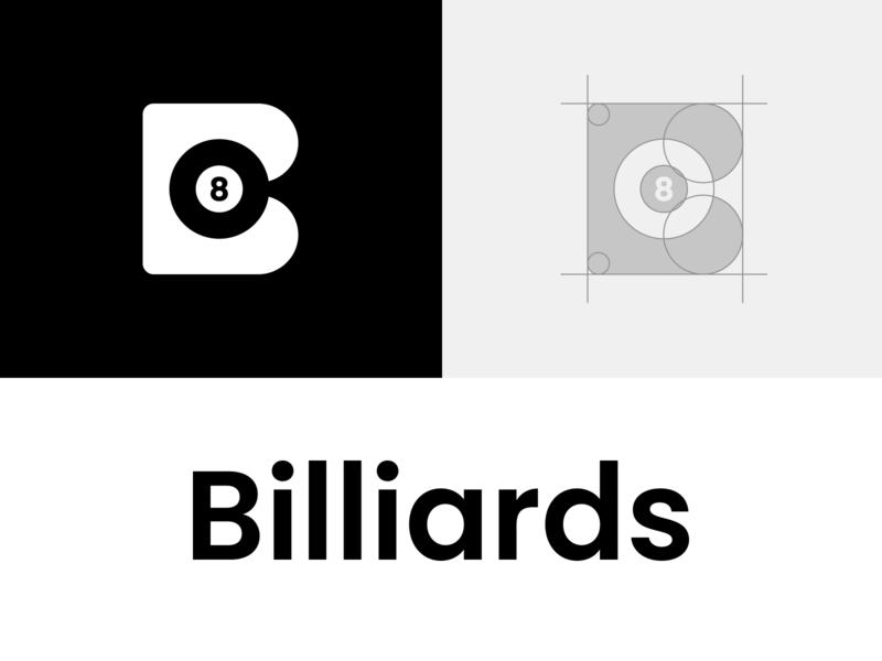 Biliards creative negative space logo designer logo icon smart logo logo smart logos negative space logo clever logo branding identity logo design black branding black logo pool 8 ball 8 biliard 🎱 biliards