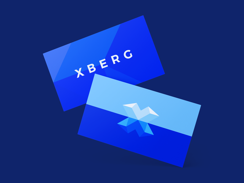 XBERG Cards print icon colorful creative clever logo smart logos logo designer blue design smart logo logo logo design illustration branding identity ice iceberg business cards business card cards