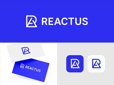 Reactus Brand logotype creative blue logo designer smart logos logo icon clever logo branding identity icon design logo smart logo logo design blue brand monogram ra monogram ra a r