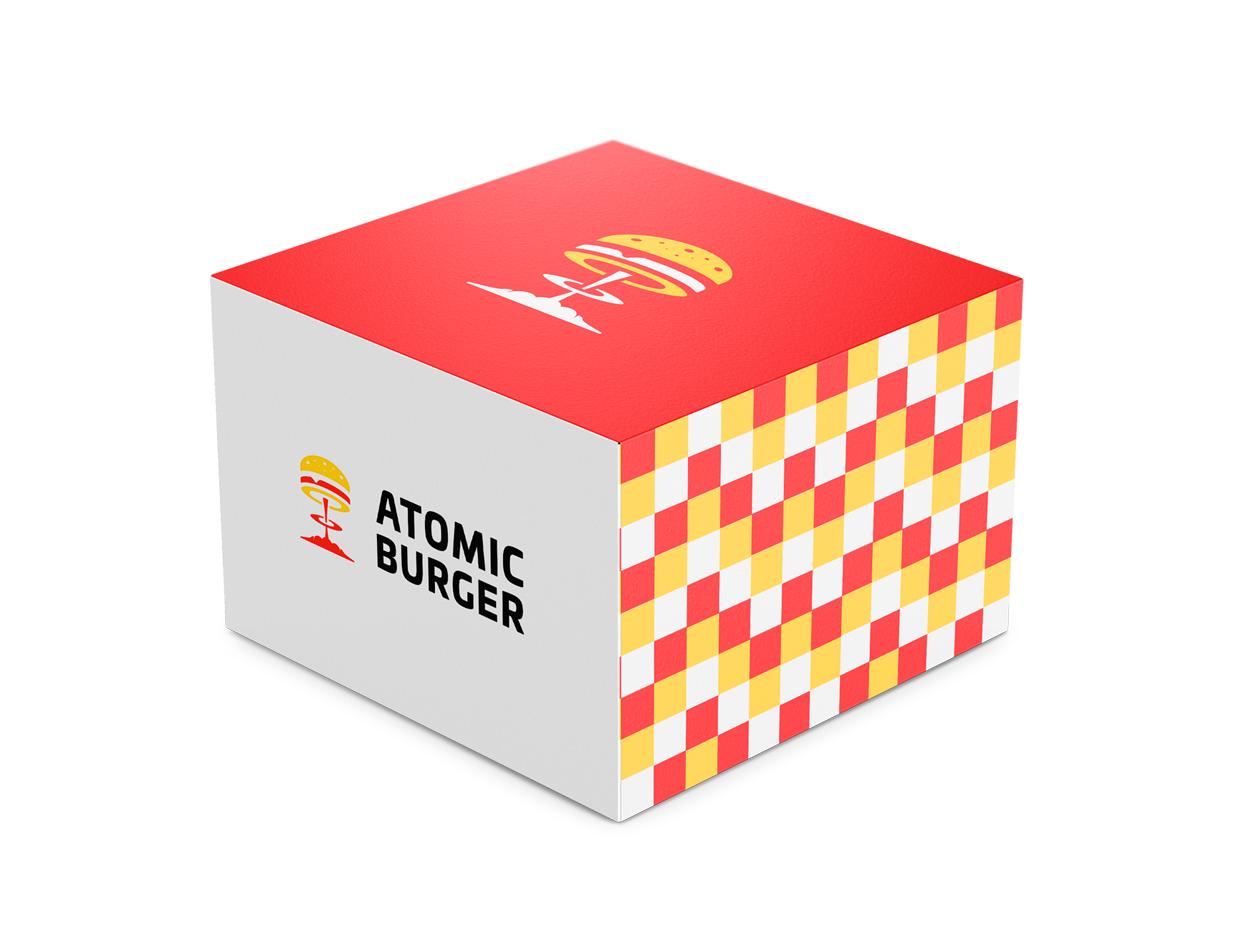 Atomic Burger Box food brand logo designer creative agency design agency clever logo illustration creative package design branding identity icon design smart logo logo logo design box 🍔 hamburgers burger packaging