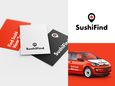 SushiFind Brand Identity logo icon clever logo branding identity icon design smart logo logo sushi logo pin location pin japan food brand restaurant app restaurant food branding logo design sushi roll sushi 🇯🇵