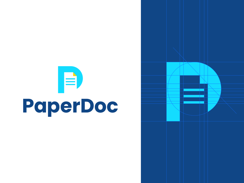 PaperDoc negative space blue logo designer smart logos logo icon clever logo branding identity icon design logo smart logo logo design document doc papers paper letter p grid logo grid