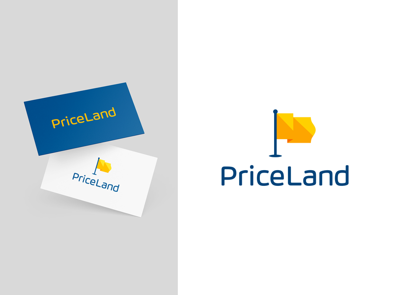 PriceLand flag vector colorful creative blue logo designer smart logos logo icon clever logo branding identity icon design smart logo logo logo design price list discount price tag price