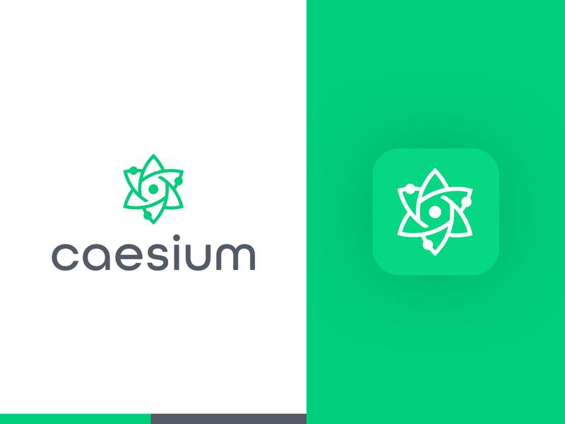 Caesium Brand atom lotus vector logotype logo illustration colorful creative logo designer smart logos logo icon clever logo branding identity icon design smart logo logo design green brand