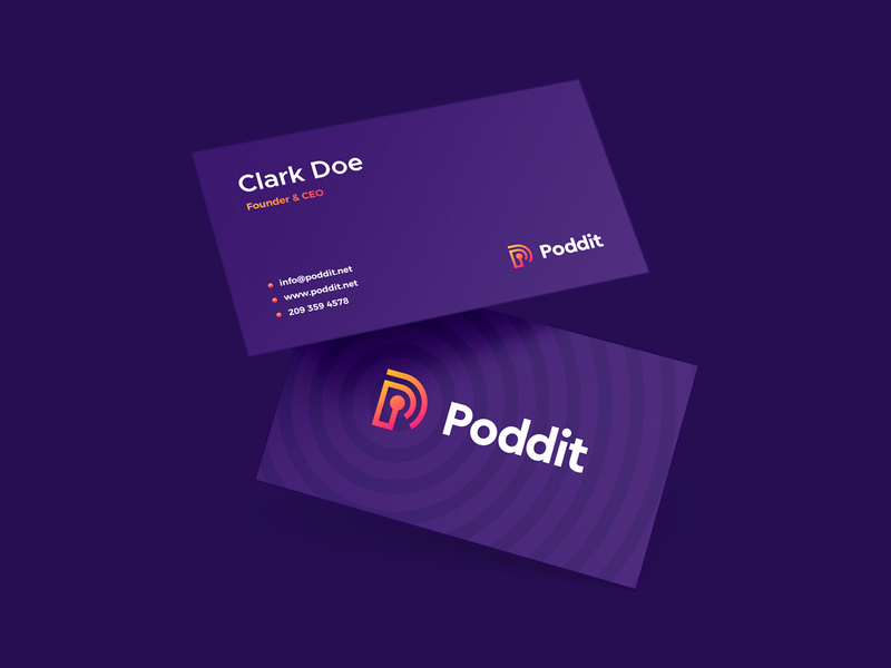 Poddit Business Cards gradient purple brand designer design agency branding agency brand design smart by design smart logo logo logo design identity business card business cards brand identity branding design branding