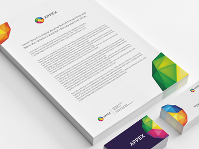 Appex CI appex app ci stationary letterhead business card card colors colorful developers green yellow red blue purple grey apex leo freelance designer colourful logo