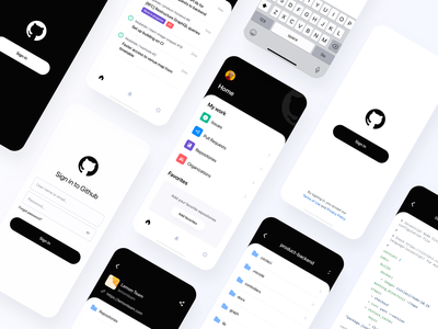 Github App Redesign (Concept) home login tabs files ux uiux ui kit user interface ui ios modern tickets black repositories issues clean dark mobile app github