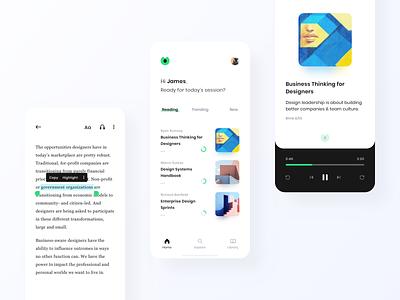 Blinkist App Redesign (Concept) ux ui concept redesign clean player app ios dark white modern audio book audio summary takeaways reading read book blink blinkist