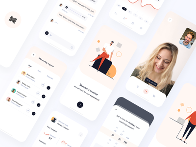 Become a mentor (concept) coaching coach minimal illustration app walkthrough charts video call onboarding splash stats call mentees mentee time modern chat mentorship mentoring mentor