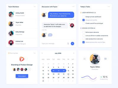 Team Collaboration Widgets calendar project to-do tasks chat cards web app app widget feedback collaboration team