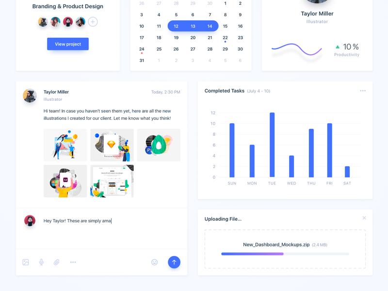 Team Collaboration Widgets (part 2) comments upload report tasks cards web app app widget feedback collaboration team