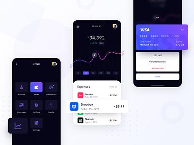 Wallet App chart black dark navigation credit card fintech finance transactions wallet app wallet expenses banking bank menu iphone modern ui clean ios app