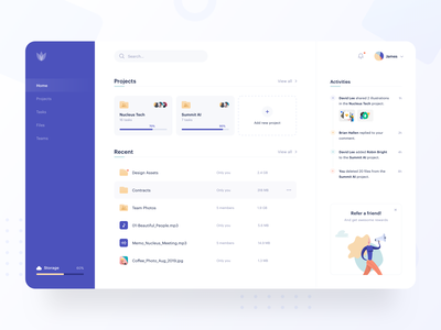 Freebie - Dashboard Design refer sketch ux ui team purple download modern clean collaboration activities projects project file manager files file dashboard freebie freebies sketch freebie