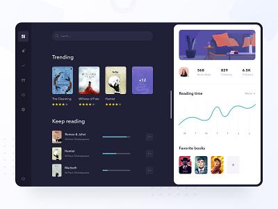 eBooks Manager graph stats progress illustration rating clean modern ios chart profile ipad dark dashboard reader app reader read books book ebooks ebook