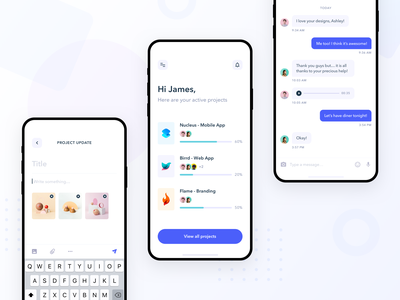 Project Management App messages collaboration team progress modern clean ux tasks task post chat message ui mobile ui mobile ios app project management projects project
