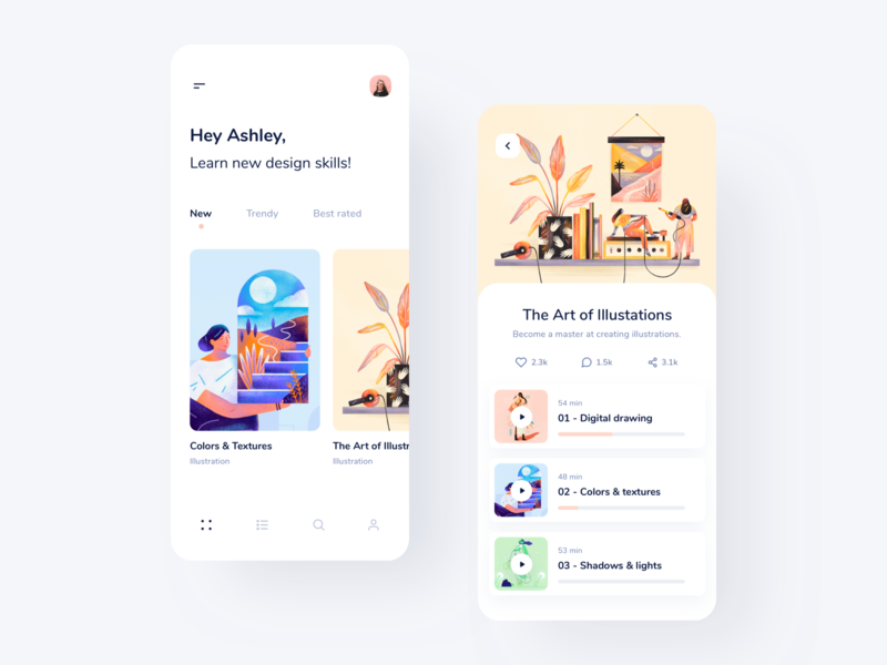 Learn new design skills lessons videos progress cards ios light pastel illustrations modern clean design courses tutorials tutorial tips courses course e-learning elearning study learn