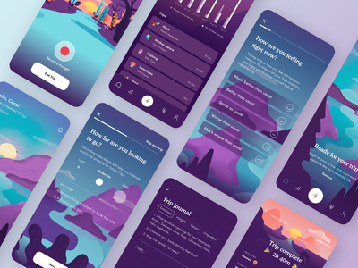 Trip — Mental Health Application design z1 ux ui dailyui trip app application feelings tripping journal psychedelics health wellness digital products landscape mindfulness personal growth consciousness-expanding consciousness