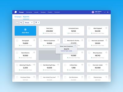 Dashboard Idea - Dragging Tiles users segments organize gradient blue grid move drop dragging tiles dashboard