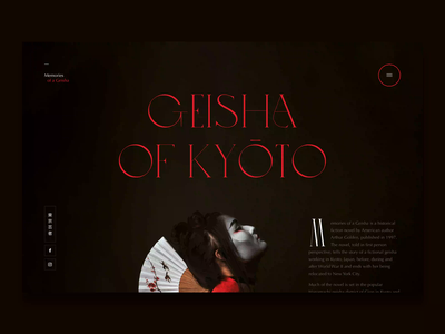 Memories Of A Geisha freelance navigation motion after effects adobe xd layout typography loader concept web design ui geisha animation