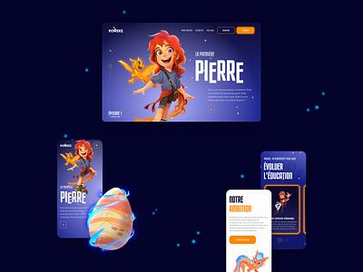 PowerZ - Screens website children kids game powerz videogame character dragon ui