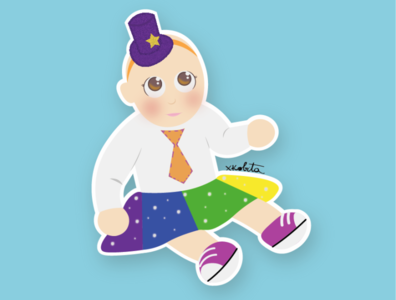 baby clown baby clow ui kid girl vector drawing draw illustration