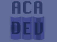 AcaDev logo branding developers school books dev development academy developer logo vector draw drawing illustration