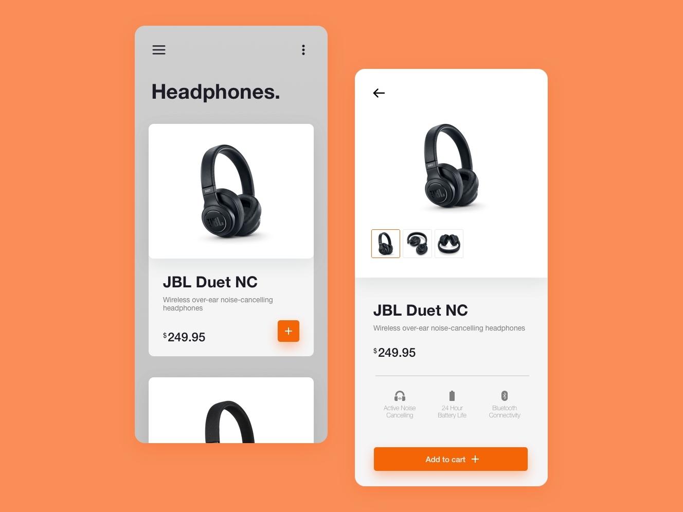 Headphone App Concept heaphones mobile minimalist design ui