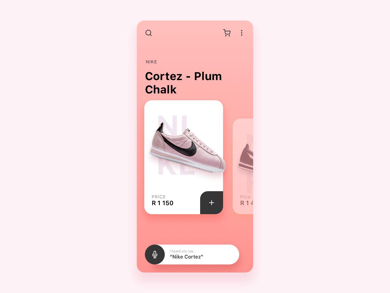 Nike Sneaker App Concept Variation 2 ecommerce sneaker mobile minimalist design ui