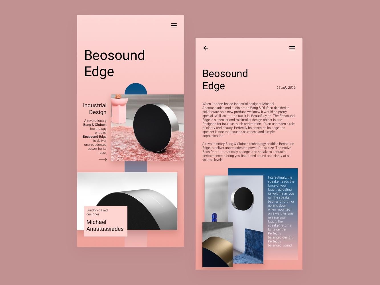Beosound Edge mobile minimalist design ui