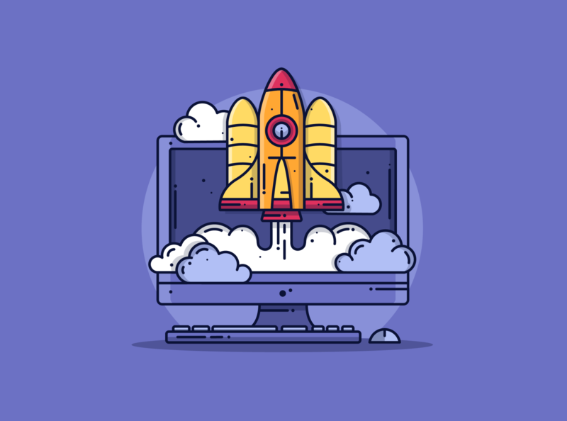 Rocket 🚀 purple cute blog design blog minimal tech computer clouds space rocket creative lineart graphic dribbble flat design illustration icon vector design branding