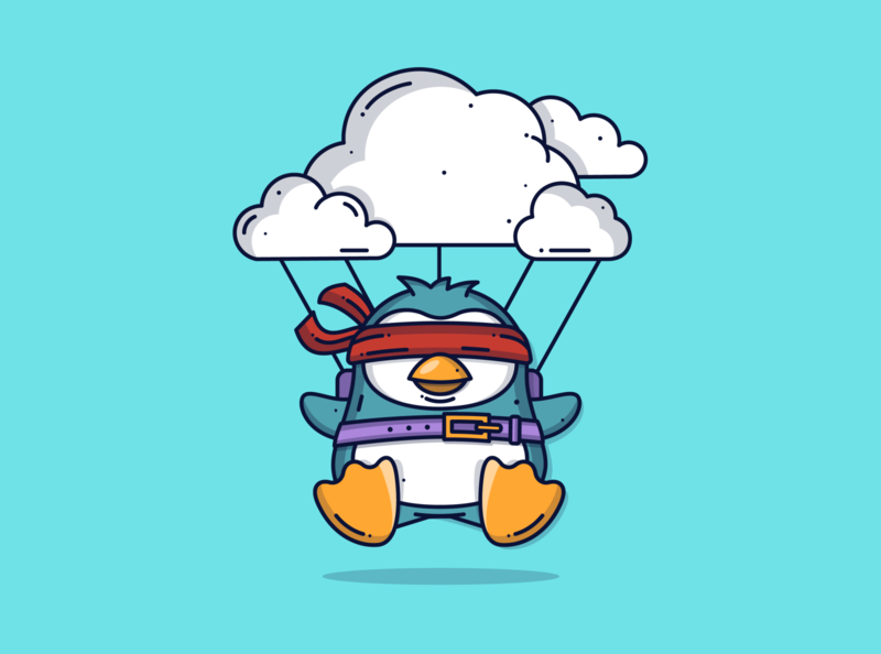 Penguin 🐧 bird flying cute animal cute art minimal blog blue tech cloud penguin character graphic dribbble cute flat design illustration icon vector design branding