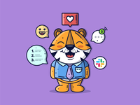 Tiger 🐅 happy work vector illustration cute art love creative vector art cute animal animal lineart character cute graphic flat design dribbble icon vector illustration design branding