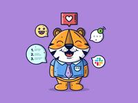 Tiger 🐅 happy work vector illustration cute art love creative vector art cute animal animal lineart character cute graphic flat design dribbble icon vector illustration design branding