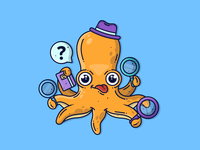 Detective Octopus🕵️‍♂️ detective vector illustration creative orange cute illustration vector art characterdesign animal ocean octopus character cute graphic flat design dribbble icon vector illustration design branding