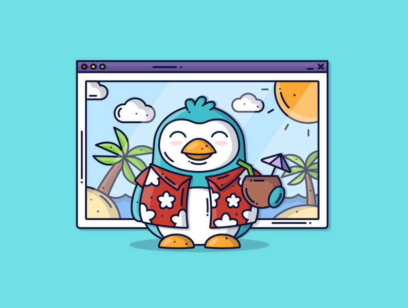 Penguin on Holiday 🐧 tropical cute illustration holiday chat zoom work remote penguin animal creative character cute graphic flat design dribbble icon vector illustration design branding