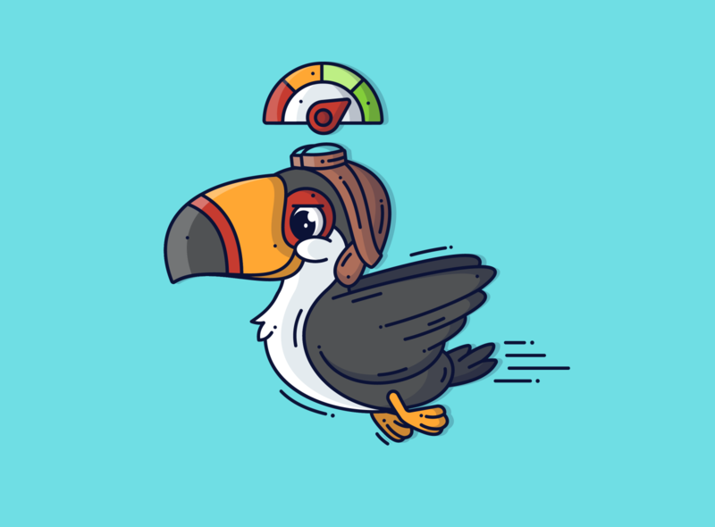 Toucan 🐦 cute art cute animal blue line toucan vector art character design flying speed bird creative character flat design cute graphic dribbble vector illustration design branding